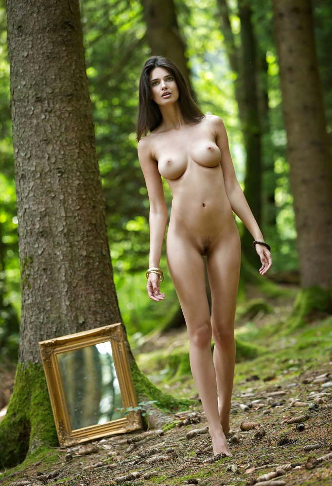Nude dark-haired in the woods images..