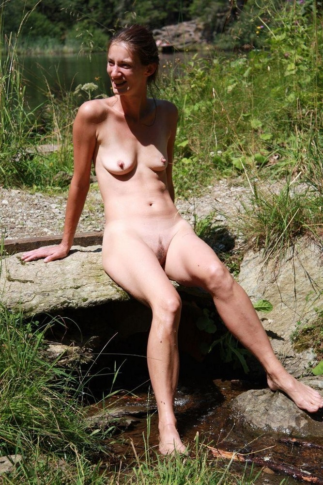Naked mature in the woods